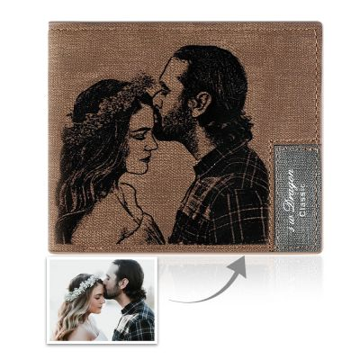 Men's Custom Inscription Photo Engraved Wallet