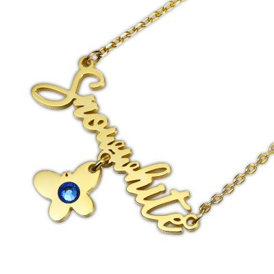Name Necklace with Birthstone & Butterfly
