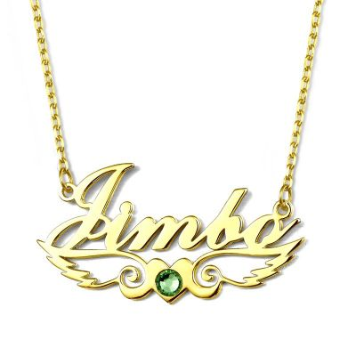 Name Necklace With Birthstone Little Heart Necklace