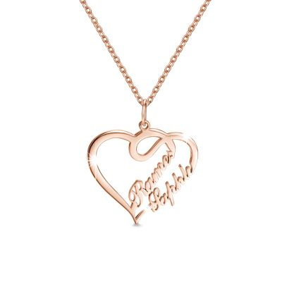 Overlapping Heart Two Name Necklace Rose Gold Plated