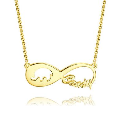 Lucky Elephant Infinity Name Necklace