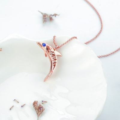 Dolphin Personalized Necklace with Birthstone