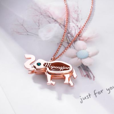 Elephant Personalized Necklace with Birthstone