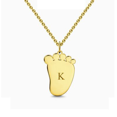 Cute Baby Foot Initial Necklace With Engraving