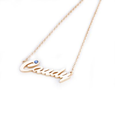 Carrie Style Personalized Name Necklace with Birthstone