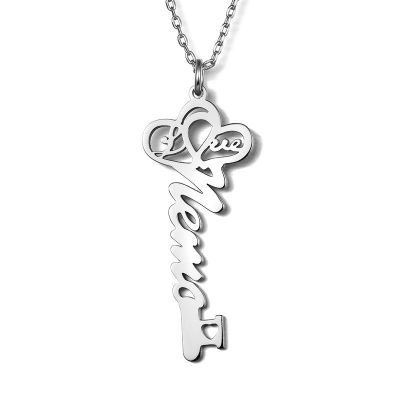 Key-Shaped Personalized Name Necklace