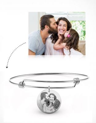 Women's Round Photo Engraved Charm Bangle