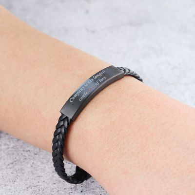 Personalized Bracelet for Men Stainless Steel and Silicone Band