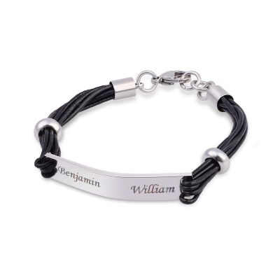 Personalized Bracelet for Men Stainless Steel and Black Leather-Special Gift