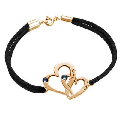 Intertwined Hearts Bracelet With Birthstones