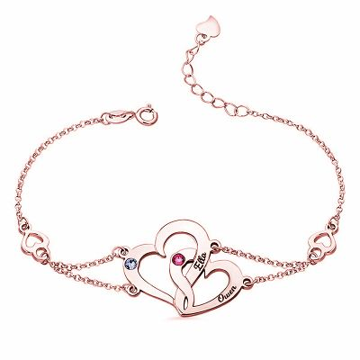 Interlocking Heart Bracelet With Birthstone