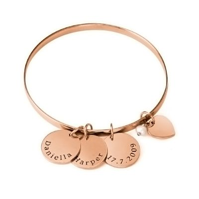 Bangle Bracelet with Personalized Pendants