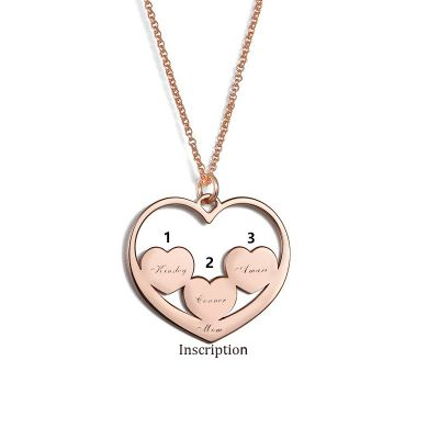 Heart in Heart Mom Necklace with Kids Name