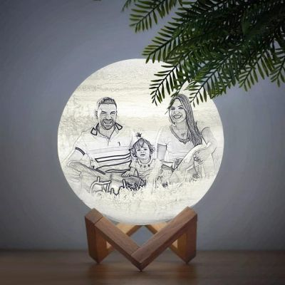 Custom Engraved 3D Photo Moon Lamp, Touch 2 Colors, Family Gift
