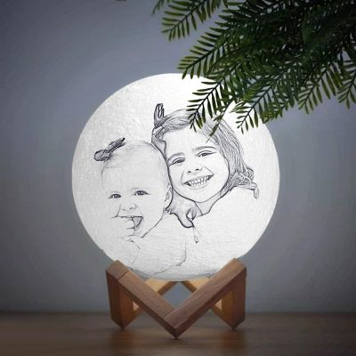 Custom 3D Photo Moon Lamp, Touch 2 Colors, Baby Gift