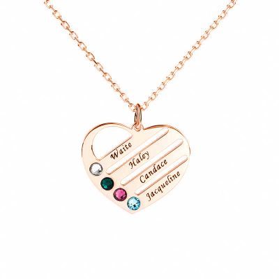 Personalized Heart Shape Family Necklace with Birthstone