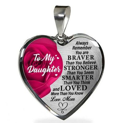 "To Daughter""You're Braver than You Believe"" Heart Necklace"
