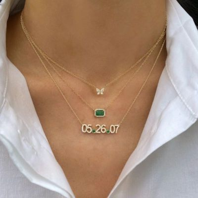 Adjustable Personalized Diamond Date Necklace