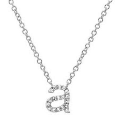 Personalized Initial Pendant Lowercase Letter Diamond Necklace