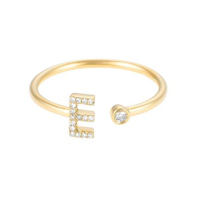 Personalized Initial Ring with Single Diamond