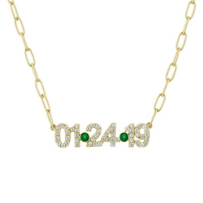 Personalized Pave Date Necklace