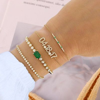Personalized Diamond Date Bracelet with Birthstone
