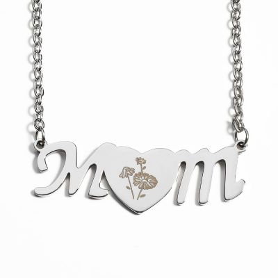 Mom&Birthflower Initial Heart Necklace Set