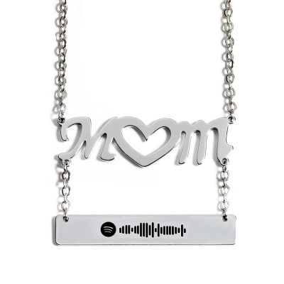 Mom Scannable Spotify Code Necklace Engraved Bar Necklace