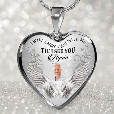 Personalized I Will Carry You with Me Memorial Photo Necklace