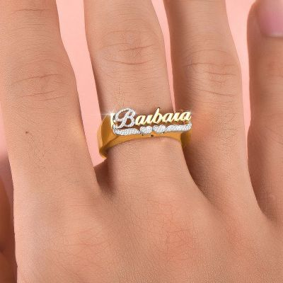 Personalized First Letter and Double Heart Engraving Name Ring