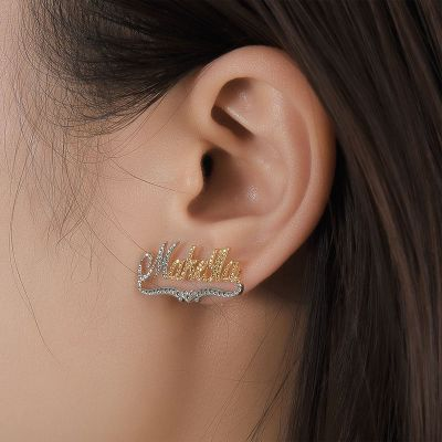 Gold Plated Two Tones Personalized Name Earrings