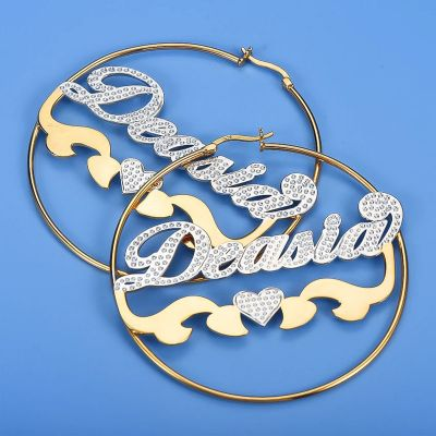 Personalized Hoop Name Earrings with Heart