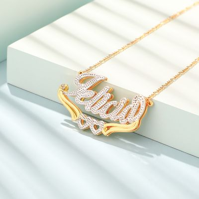 Two Tone Personalized Hollow Heart 3D Name Necklace