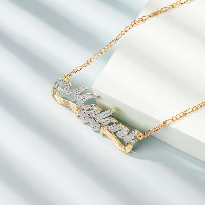 Two-Tone Heart Custom Name Necklace