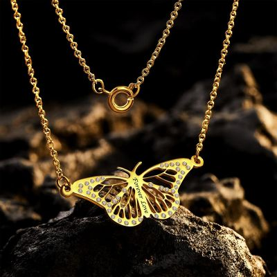 Dream Butterfly  Custom Engraved Name Necklace