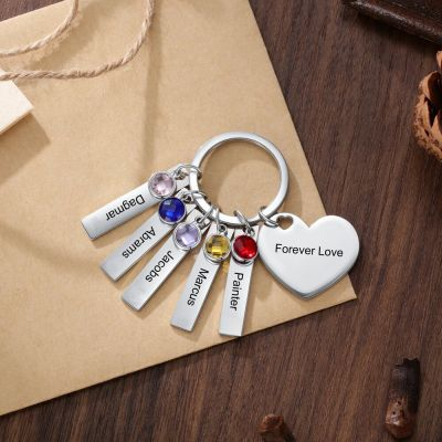Personalized Heart Keychain with Birthstones