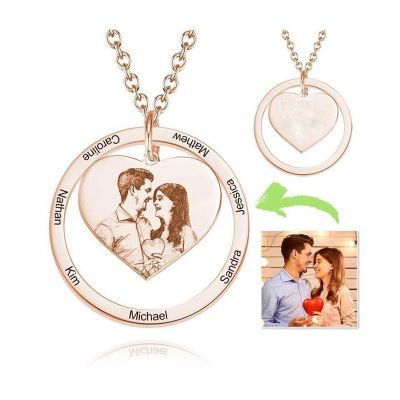 Photo Engraved Necklace Heart In Round Pendant Family Necklace