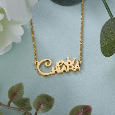 Cute Personalized Crown Name Necklace With Birthstone