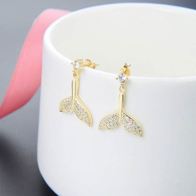 Yellow Gold Tone Sterling Silver Mermaid Tail Earrings