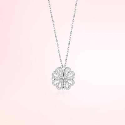 Lucky Four-leaf Clover Necklace For Women Silver