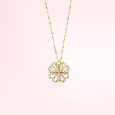 Classic Four-leaf Clover Necklace For Women Yellow Gold