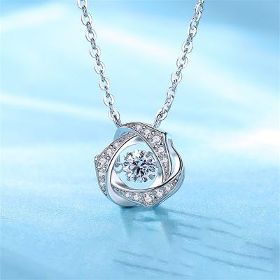Fashion Silver Necklace With White Stone For Women