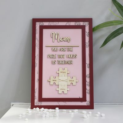 """""""You Are The Piece That Holds Us Together"""" Personalised Custom Frame Watermelon Red"""