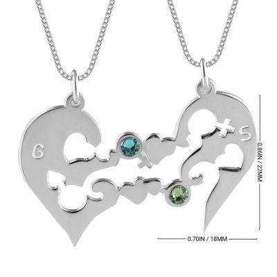 Custom Half Heart Couple Necklace with Birthstones Silver