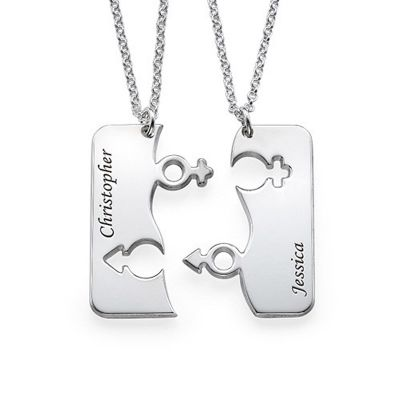 Custom Puzzle Name Couple Necklace