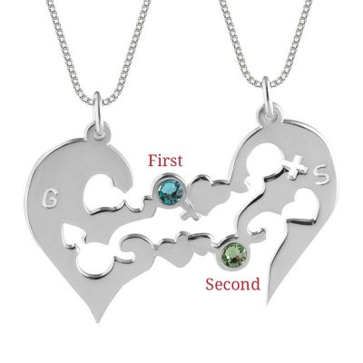 Custom Half Heart Couple Necklace with Birthstones Gold
