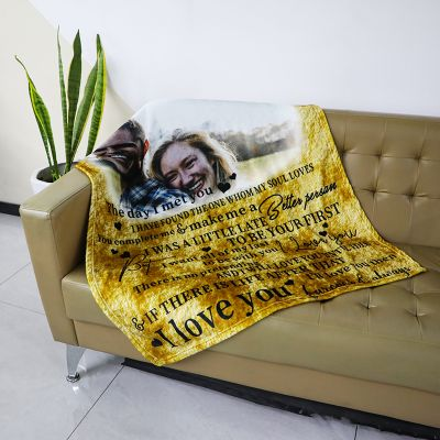 Custom Photo Couple Blanket with Engraving
